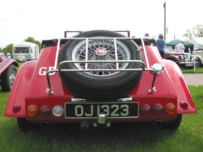 a rear view of a red NG
