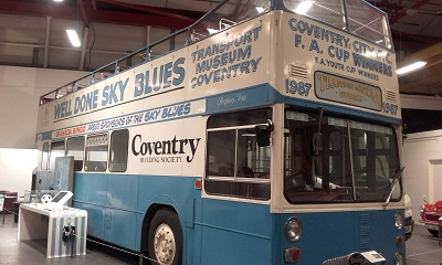 The famous bus painted in sky blue and white